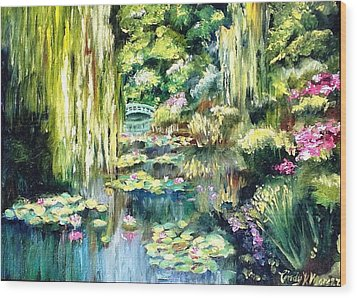 Monet's Garden Wood Print by Cindy Morgan