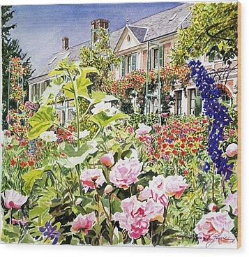 Monet's Garden Giverny Wood Print by David Lloyd Glover