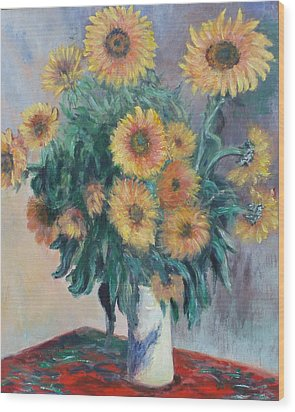 Monet's Sunflowers Wood Print