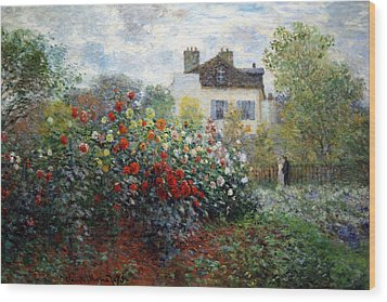 Wood Print featuring the photograph Monet's The Artist's Garden In Argenteuil  -- A Corner Of The Garden With Dahlias by Cora Wandel