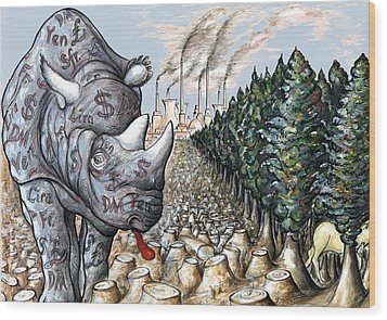 Donald Trump In Action - Political Cartoon Wood Print by Art America Gallery Peter Potter