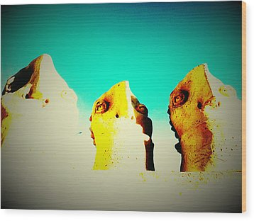 Monitors - Blue Sky Wood Print by Mark M  Mellon