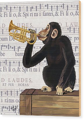 Monkey And Trumpet Wood Print by Kelly McLaughlan