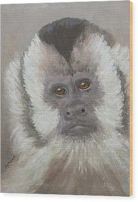 Wood Print featuring the painting Monkey Gaze by Margaret Saheed