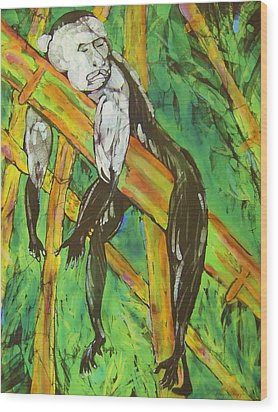 Monkey Nap Wood Print by Kay Shaffer