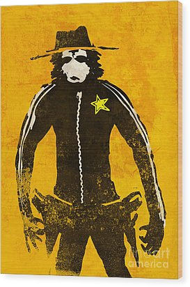 Monkey Sheriff Wood Print by Pixel Chimp