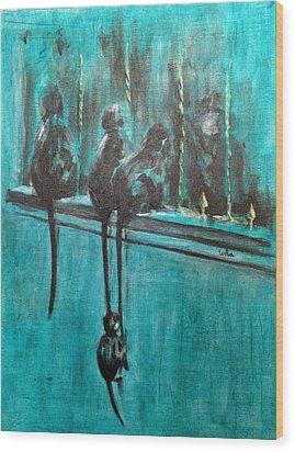 Monkey Swing Wood Print by Usha Shantharam