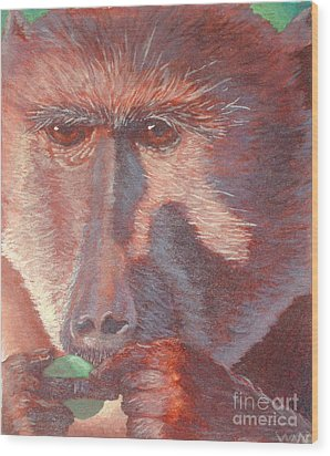 Monkey's Lunch Wood Print by Whitney Morton