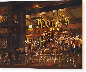 Monks Cafe Wood Print by Rona Black