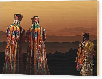 Monks From Bhutan Wood Print