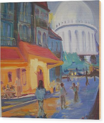 Wood Print featuring the painting Monmartre by Julie Todd-Cundiff