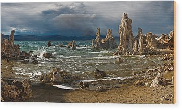 Mono Lake Stormy Panorama Wood Print by Dave Dilli