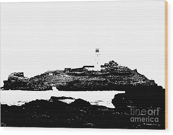 Monochromatic Godrevy Island And Lighthouse Wood Print by Terri Waters