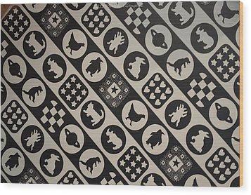 Monochrome Mosaic Wood Print by Sonali Gangane