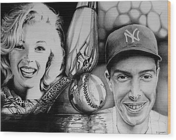 Monroe And Dimaggio Wood Print by Geni Gorani