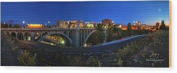Monroe Street Bridge Panorama Wood Print by Dan Quam