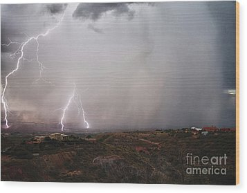 Wood Print featuring the photograph Monsoon Lightning Storm Over The Jerome State Park In The Verde Valley Arizona by Ron Chilston