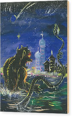 Monster In The City Wood Print by Amberlyn How
