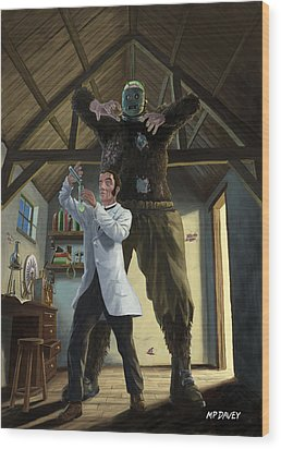 Monster In Victorian Science Laboratory Wood Print by Martin Davey