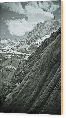Mont Blanc Glacier Wood Print by Frank Tschakert