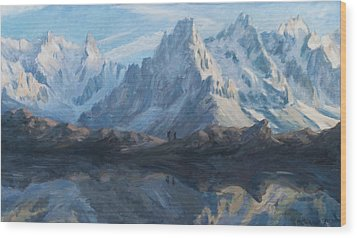 Montain Mirror Wood Print by Marco Busoni