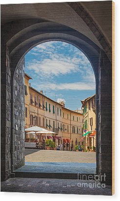 Montalcino Loggia Wood Print by Inge Johnsson