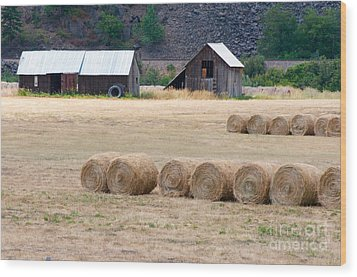 Wood Print featuring the photograph Montana Bales by Vinnie Oakes