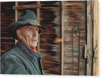 Wood Print featuring the painting Montana Cowboy by Michael Pickett