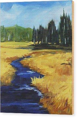 Montana Creek Wood Print by Nancy Merkle