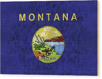 Montana Flag Wood Print by World Art Prints And Designs
