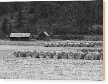 Wood Print featuring the photograph Montana Harvest B/w by Vinnie Oakes