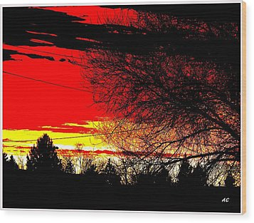 Montana January Sunset Wood Print by Aliceann Carlton