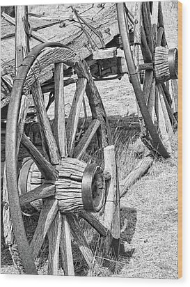 Montana Old Wagon Wheels Monochrome Wood Print by Jennie Marie Schell