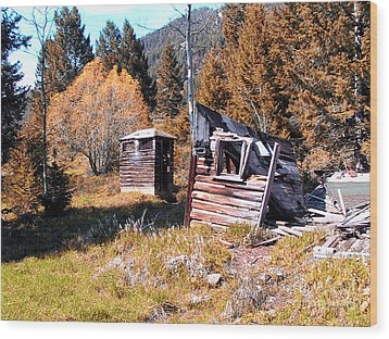 Montana Outhouse 01 Wood Print by Thomas Woolworth