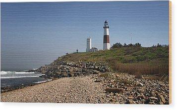 Montauk Lighthouse Wood Print by Alida Thorpe