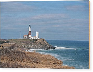 Wood Print featuring the photograph Montauk Lighthouse/camp Hero by Karen Silvestri