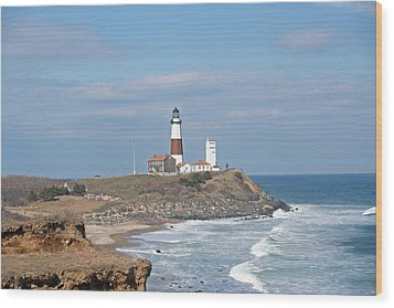 Wood Print featuring the photograph Montauk Lighthouse View From Camp Hero by Karen Silvestri