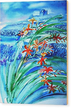 Montbretia On Inisheer  Wood Print by Trudi Doyle