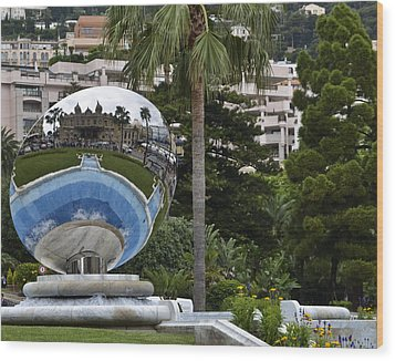 Wood Print featuring the photograph Monte Carlo Casino In Reflection by Allen Sheffield