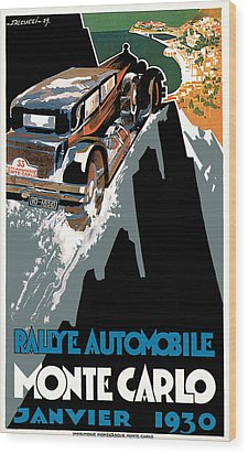 Monte Carlo - Vintage Poster Wood Print by World Art Prints And Designs