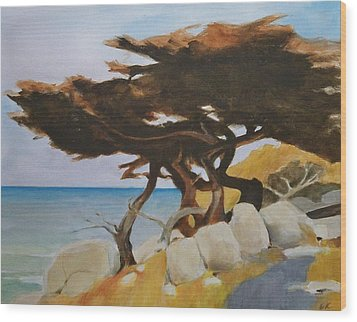 Wood Print featuring the painting Monterey Cypress by Ed  Heaton