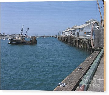 Wood Print featuring the photograph Monterey Municipal Wharf by James B Toy
