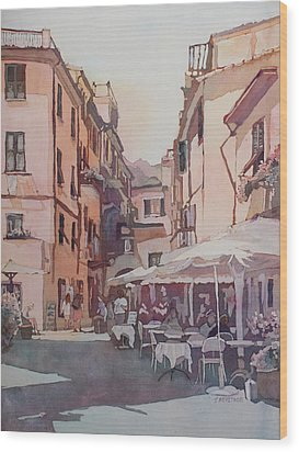 Monterosso Cafe Wood Print by Jenny Armitage