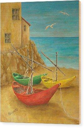 Monterosso On Riviera Di Levante Wood Print by Pamela Allegretto