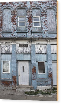 Montezuma Iowa - Blue Brick Building Wood Print by Gregory Dyer