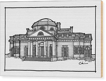 Monticello Wood Print by Calvin Durham