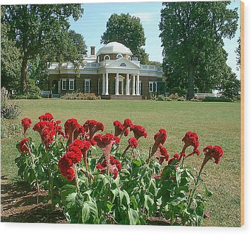 Monticello Cockscomb In Bloom Wood Print