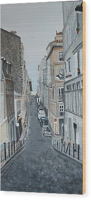 Wood Print featuring the painting Montmartre Paris France by Betty-Anne McDonald