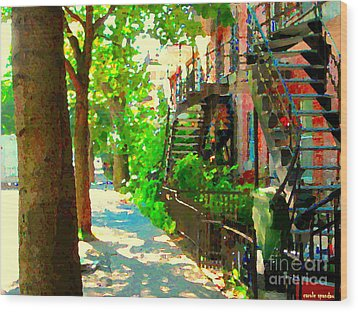 Montreal Art Colorful Winding Staircase Scenes Tree Lined Streets Of Verdun Art By Carole Spandau Wood Print