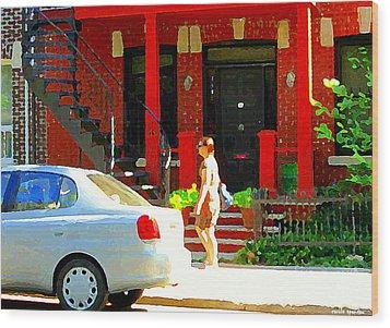 Montreal Art Summer Stroll On A Sunny Morning Colorful Street Verdun City Scene Carole Spandau Wood Print by Carole Spandau